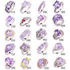 25 Styles Women Topaz Jewelry Tourmaline Gemstone Silver Ring Gift Size 6-13