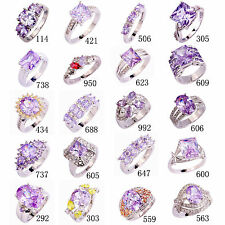 25 Styles Women Topaz Jewelry Tourmaline Gemstone Silver Ring Gift Size 6-13