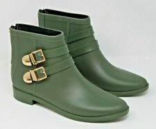 Vince Camuto Size 38 Reign Military Green Rubber Booties Rain Boots Gold Buckle