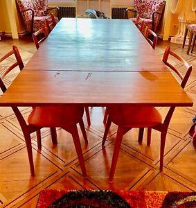 TABLE RECTANGULAIRE VINTAGE EN TECK AVEC 2 RALLONGES, STYLE SCANDINAVE 1960