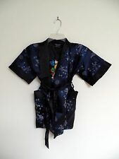 Thai Silk-Blend Child's Robe / Kimono - Dark Blue Reversible - Unisex M (New)