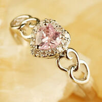 Wedding Jewelry Women Silver Heart Pink White Topaz Gemstone Ring Size 6 7 8 9