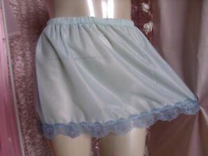"Vtg Style Duck Egg Blue Nylon Micro Micro Mini Underskirt  40"" - Max 52"""