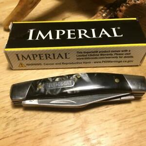 "Imperial Schrade Black Swirl Celluloid Stockman 3 3/8"" Pocket Knife IMP17S"
