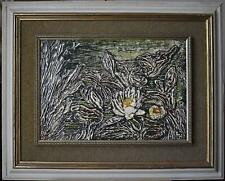Water Lily in Acrylic Blue Ann Harvey c1970s Oil over Gesso Mixed Media British