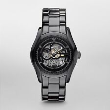 Emporio Armani Men's AR1414 Ceramic Black Mecanico Automatic Skeleton Dial Watch