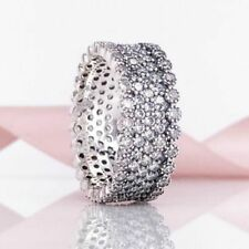 Lavish Sparkle Ring 925 Solid Sterling Silver Pave Large Wide Size 8.5 / 58