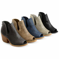 Brinley Co Womens Faux Leather Side slit Open toe Perforated Ankle Booties New