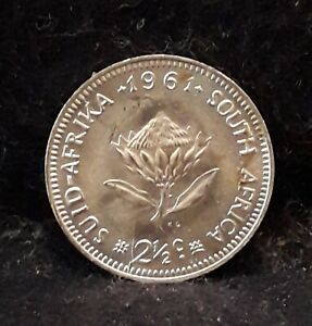 1961 South Africa silver 2 1/2 cents, transitional Republican issue, UNC, KM-58