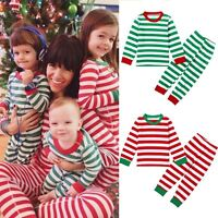 Christmas Baby Kids Boys Girls Striped Cotton Nightwear Pajamas Sleepwear Set