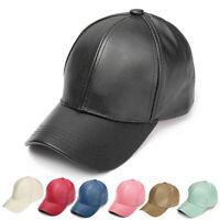 Men Women Solid Leather Baseball Cap Snapback Outdoor Sport Adjustable Hat