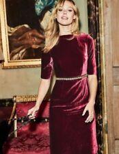 New Boden Velvet Martha Dress UK 18 Long (US 14 EU 44 46) Wine Red