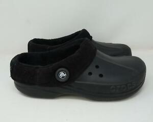 Crocs Corduroy Liner Slip On Clogs Casual Shoes Black Men's US 11