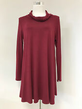 Azules USA Burgundy Wine Cowl Neck Long Sleeve Swing Tunic Top Dress  SZ XL EUC