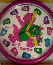 """VTG Barney Wall Clock The Purple Dinosaur Teach Me Time Baby Bop 10"""" 90's"""