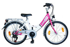 Mädchenfahrrad 20 Zoll Kinderfahrrad DELTA  6 Gang Shimano mit Beleuchtung Rosa
