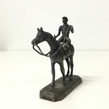 Miniature Metal Figurine Sculpture -  Man on a Horse #404