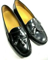 COLE HAAN Mens Shoes Pinch Tassel Black Leather Loafers Slip on Size 9.5 M