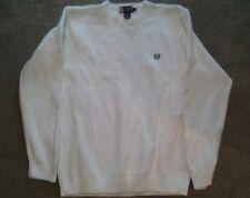 Chaps White Men's Crewneck Sweater Large - 100% Cotton - Long Sleeve