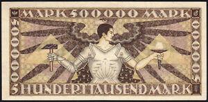 1923 500000 Mark German States Baden Rare Vintage Emergency Money Banknote UNC