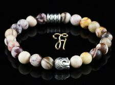 Zebra Jasper Braun Beige Bracelet Pearl Bracelet Buddha Head Silver 0 5/16in