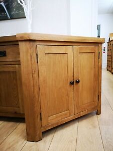 Montreal Solid Oak 2 Door Corner Cupboard / Rustic Solid Wood Living Furniture