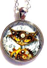 Steampunk Clockwork Cat Glass Cabochon Tibetan Silver Chain Pendant /Necklace