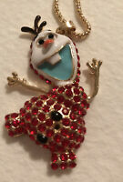 """Betsey Johnson Red Olaf Necklace New With Tag ~Free Shipping~ 26"""" Chain"""