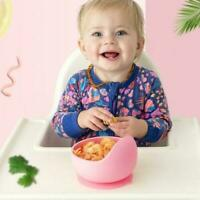 Baby Silicone Suction Cup Bowl With Spoon Set Kids Non-slip Feeding Supply Hot