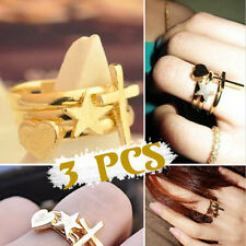 Three Piece Ring Beauty Retro Heart-shaped Five-pointed Star Cross Ring WBCA