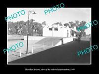 OLD LARGE HISTORIC PHOTO OF CHANDLER ARIZONA, THE RAILROAD DEPOT STATION c1940