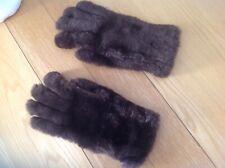 Vintage Ladies Fur & Leather Gloves, Wool Lined, Sz Medium, Brown, VGC