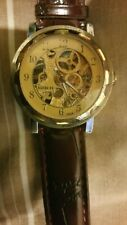 Automatic Mechanical Skeleton Steampunk  Brown  Leather Gents Unisex Goer Watch