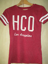 ladies HOLLISTER BURGUNDY COTTON CREW NECK T SHIRT SIZE XS