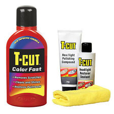 T Cut Colour Fast LIGHT RED Car Polish Wax + Headlight Headlamp Restorer Kit