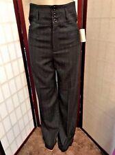 Nanette Lepore Pants Black Striped Wide leg High Waist Dress Pants Womens Size 6