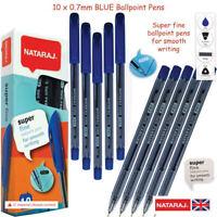 10 x 0.7mm Fine Point NATARAJ SuperFine BLUE Smooth Ball Pens Triangular Grip