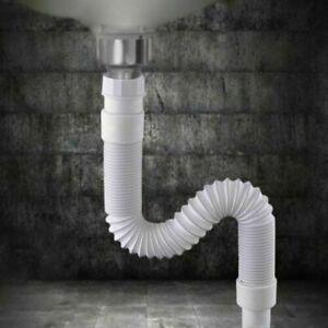 Waschtisch Waschbecken Flexible Rohr Röhrensiphon Sifon 36-80cm Kunststoff
