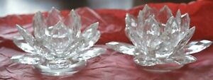 Shannon Crystal by GODINGER Set of Two LOTUS Candle HOLDERS Taper NEW NIB