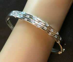 "Sterling Silver Bracelet CZ Bangle Strip Ribbed Rhodium Pltd 8.25"" 21g 925 #1234"