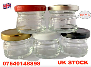 25ml.Small Glass  Clear Jars With Screw Top  Wedding,Honey,Jam inc.HONEY 35gram