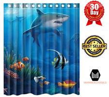 Customized Bathroom Shower Curtain Waterproof Polyester Fabric Fish Sharks Desig