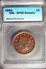 1853 - Icg Ef40 Details (Altered Surfaces) Braided Hair Large Cent! #B19810
