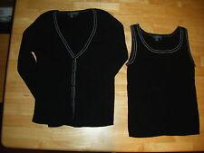 Womens LAUREN RALPH LAUREN Black Cotton Tank Top/Cardigan Sweater 2 P Set Sz L