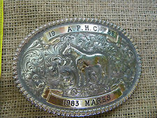 GIST Rodeo Trophy Belt Buckle 1986 1983 A.P.H.C. HORSE SILVER GOLD PLATED MARES