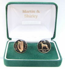 1960 IRELAND cufflinks from OLD IRISH sixpence coins Black Gold