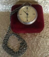 Vintage Ladies LUCERNE ELECTRA Pendant Watch on Chain Gold Face Mid Century!