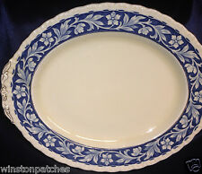 "GRINDLEY ELYSIAN 14 5/8"" OVAL PLATTER CREAM BACKGROUND BLUE BORDER GOLD TRIM"