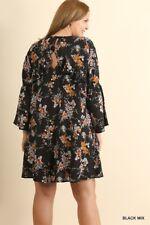 Umgee Floral print long Sleeve ruffle full Swing Dress boho Tunic Top S M L