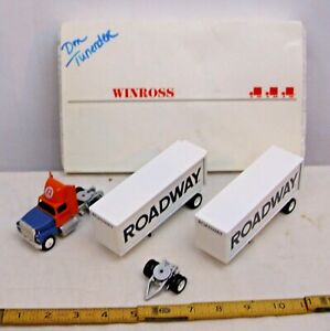 WINROSS FORD ROADWAY DOUBLE TRAILERS SEMI TRUCK SET BOXED